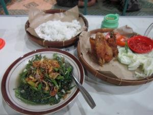 Then dinner: cah kangkung (the veggie), nasi (rice), and ayam panggang (the chicken).