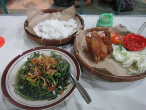 Then dinner: cah kangkung (the veggie), nasi (rice), and ayam panggang (the chicken).